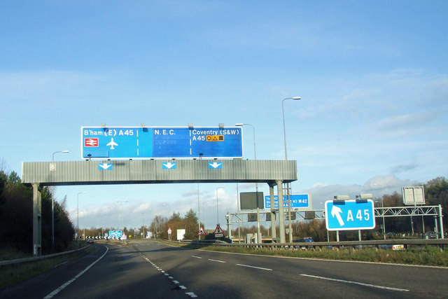 M42 northbound, approaching A45 junction