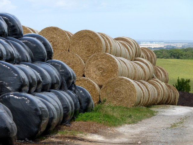 Straw and silage bales at Acthorpe Farm