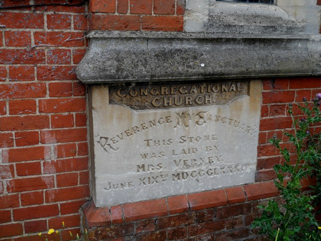 Congregational church, Winslow, foundation stone