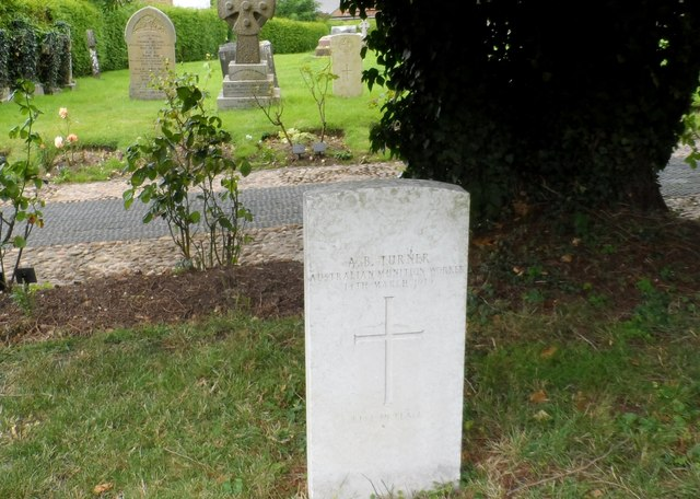 War grave in church yard of St Laurence's Winslow