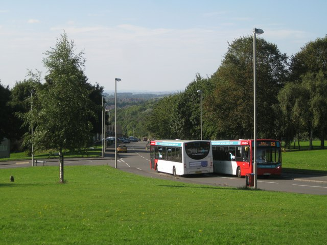 Buses passing, Russells Hall Road, Dudley