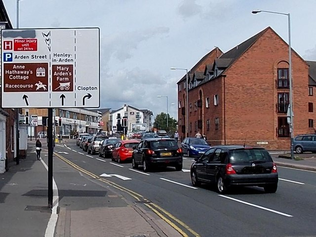 Visitor attractions sign, Birmingham Road, Stratford-upon-Avon