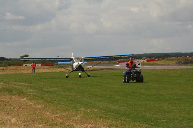 Follow me: landing aircraft at Strubby airstrip for the unveiling of the memorial