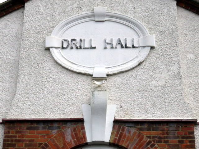 Drill Hall plaque on Leacroft Centre, Raleigh Court