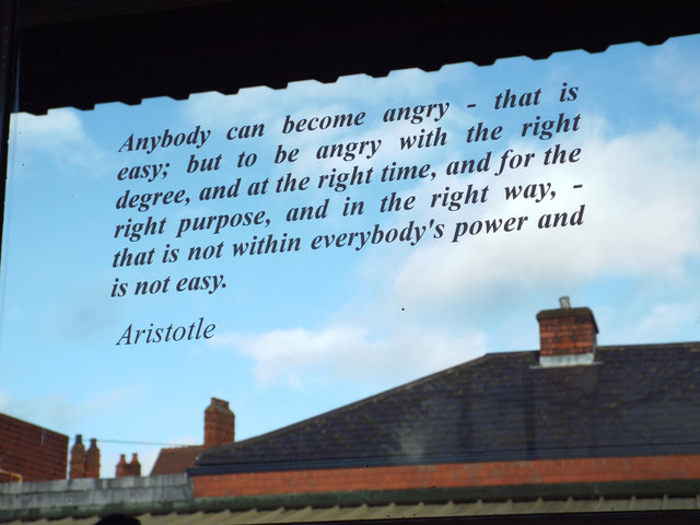 "Quotation from Aristotle: ""Anybody can become angry…"""