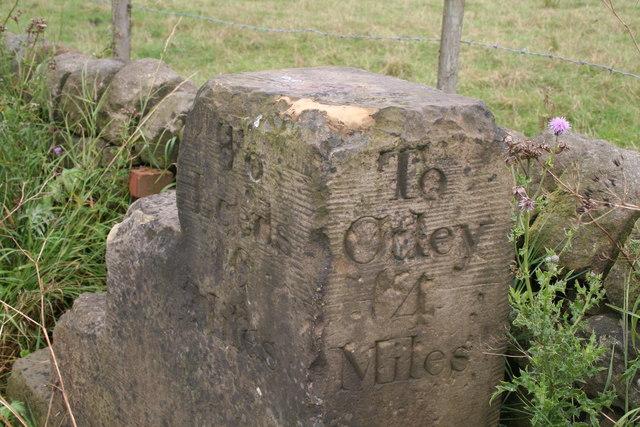 Near Bramhope:  Old milestone