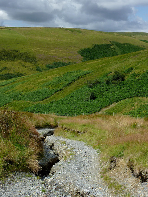 Eroded byway in Cwm Doethie, Ceredigion