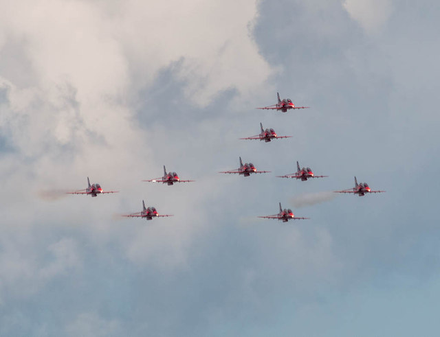 The Red Arrows - Concorde Formation, Clacton Air Show, Essex