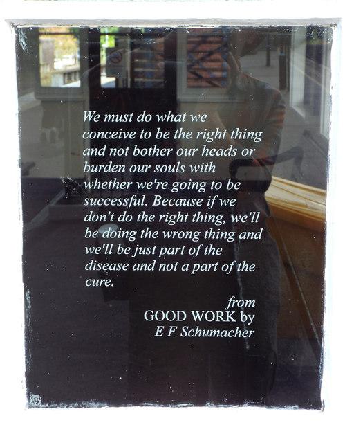 Quotation from E F Schumacher: 'Good Work'