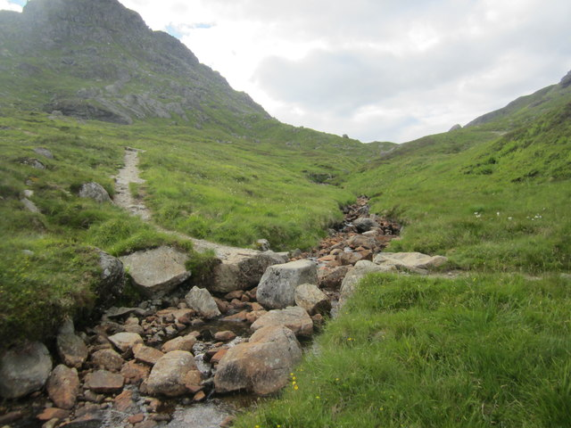 Path crossing the Allt a' Bhalachain