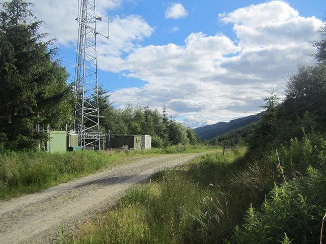 The radio mast in Ardgartan Forest