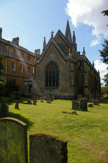 St Mary Magdalene church, Sherborne: east end of church and adjacent Sherborne House