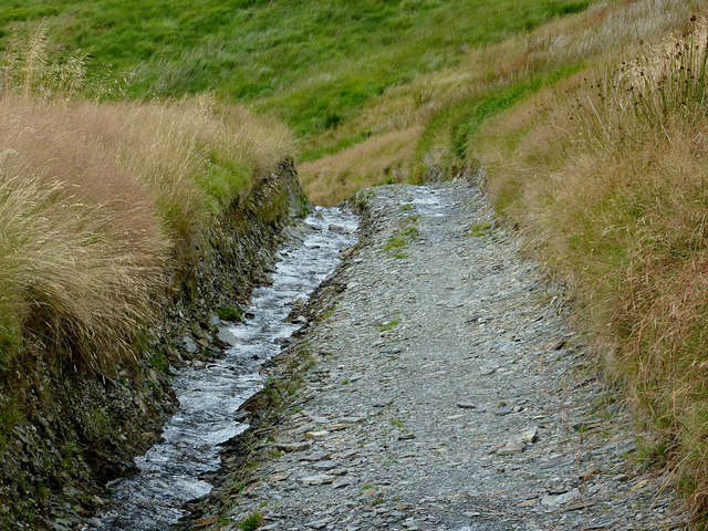 Eroded byway approaching Cwm Doethie, Ceredigion
