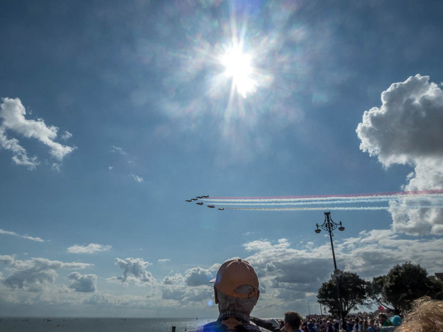 The Red Arrows Arrive at the Air Show, Clacton, Essex