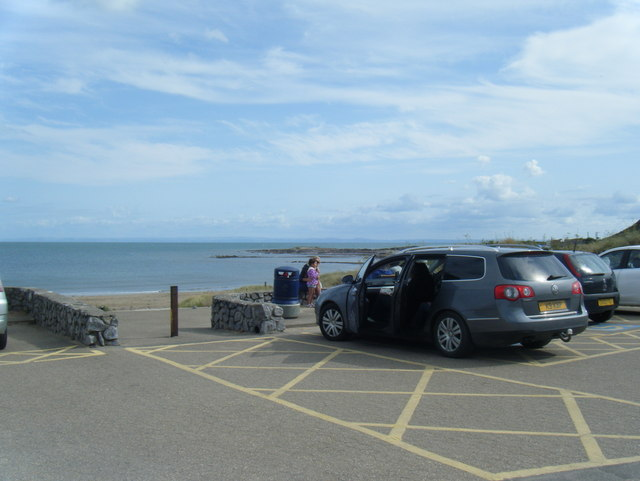 Port Eynon car park and bay beyond