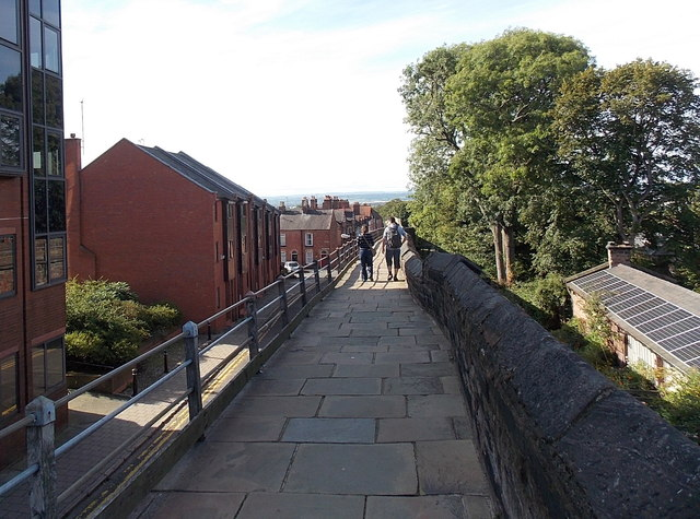 Walking on the city walls, Chester