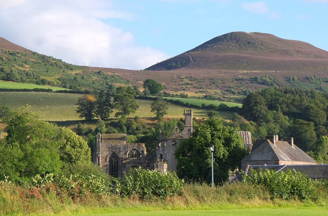 Melrose Abbey and the Eildon Hills