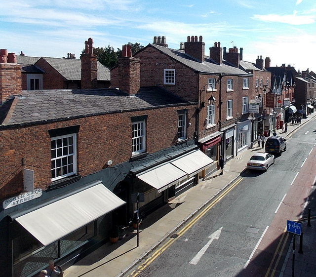 Shops awnings in Northgate Street, Chester