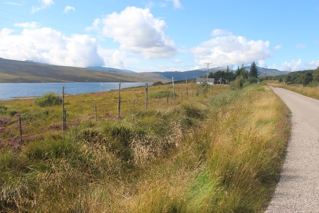 A838 approaching Overscaig Hotel