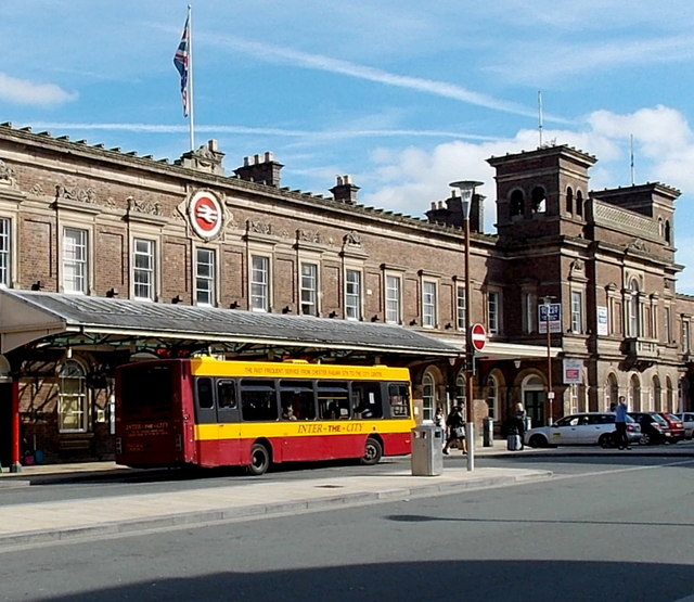 Inter-the-City bus outside Chester railway station