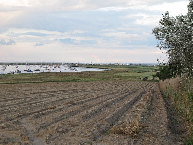 Looking over ploughed land to the River Alde, Sudbourne