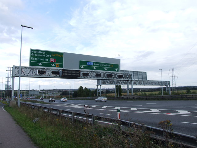 Gantry sign over the A2 Watling Street