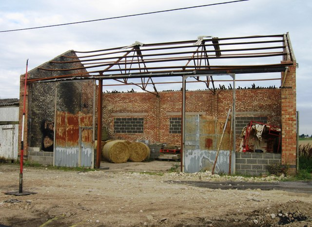 Fire damaged farm building