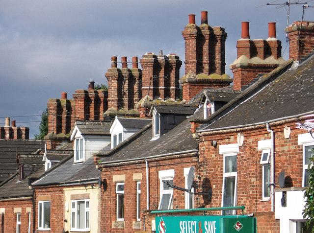 Shireoaks - chimney stacks on Shireoaks Row