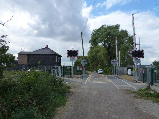 New level crossing barriers on Burtey Fen, Pinchbeck