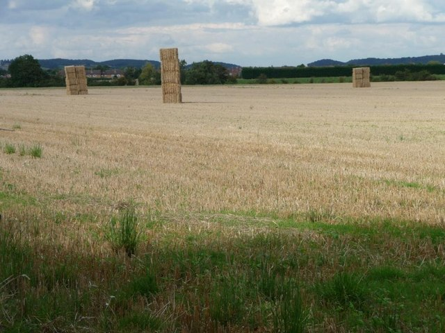 Straw baled and stacked, south-west of Salford Priors