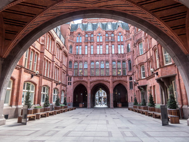 Interior View of Courtyard of Former  Prudential Building, London WC1