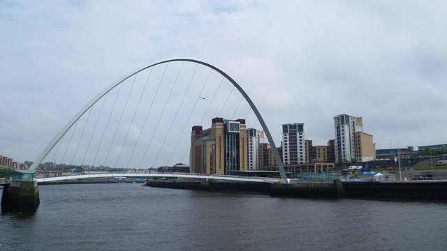 The Gateshead Millennium Bridge over the River Tyne in Newcastle