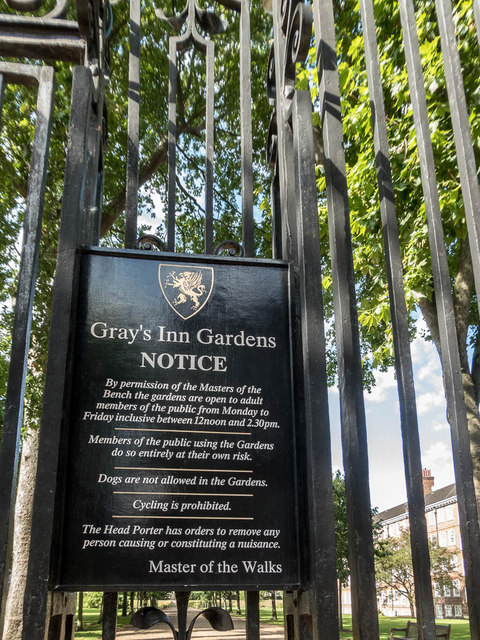 Entrance to Gray's Inn Gardens, London WC1