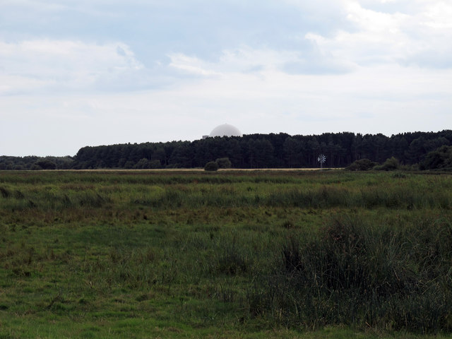 Looking over marshy pasture towards Sizewell
