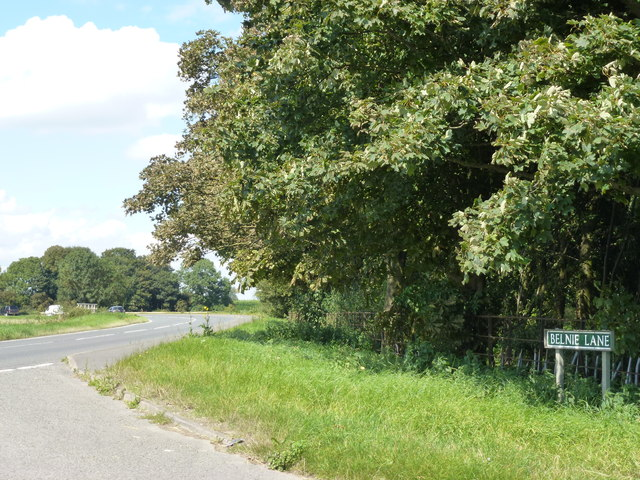 Belnie Lane joins Spalding Road near Gosberton