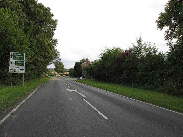 Approaching  Bainton  roundabout