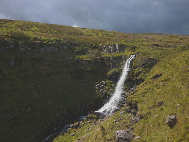 Sun on the upper fall ('Mare's Tail'), Force Gill