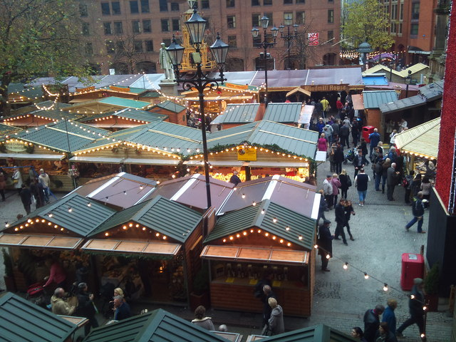 Christmas market in Albert Square, Manchester