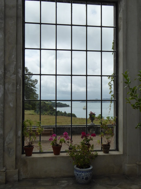 The view from the conservatory at Trelissick House