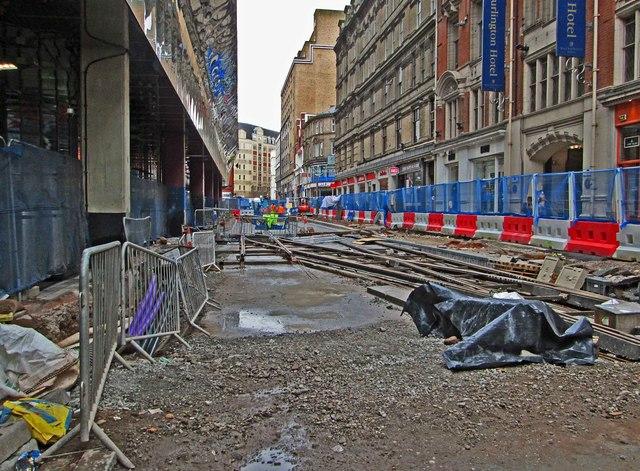 Tram track construction in Stephenson Street, Birmingham