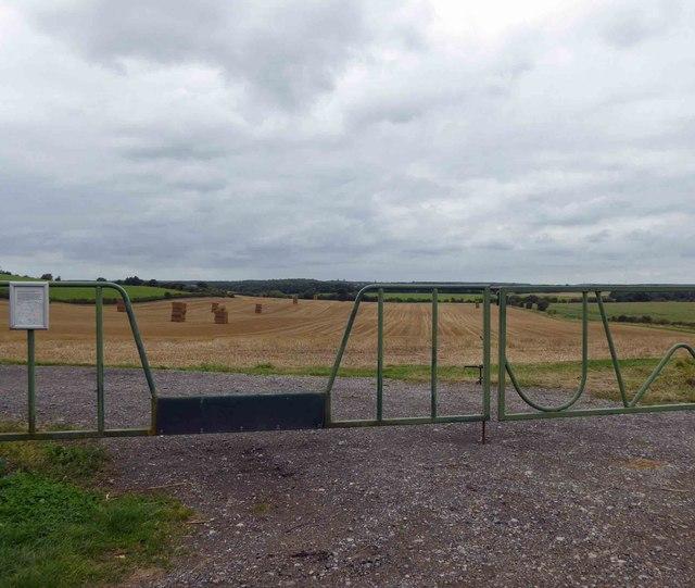 Interesting gate into farmland Red Hill Lane