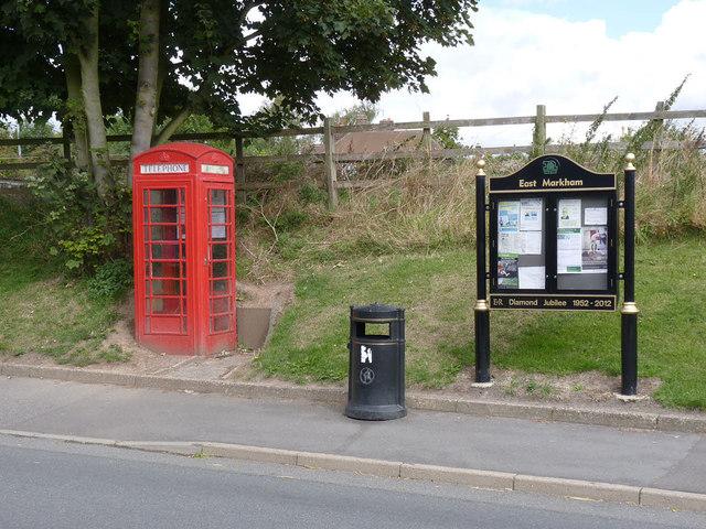 Telephone kiosk and notice board, East Markham