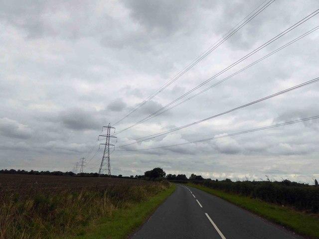 Power lines cross Eakring Road
