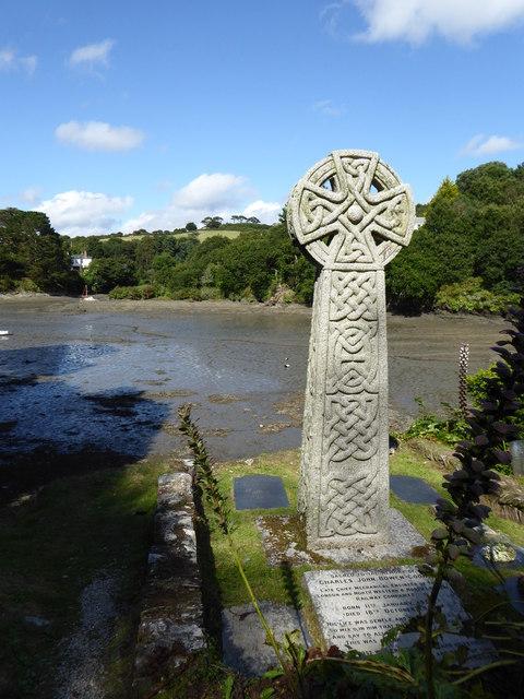Celtic cross gravestone at St Just in Roseland Church