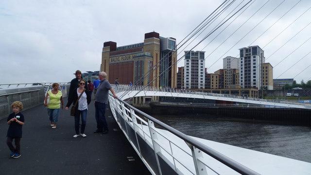 On the Gateshead Millennium Bridge in August