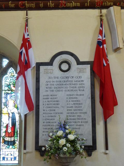 1914-1918 War Memorial in St Just in Roseland Church