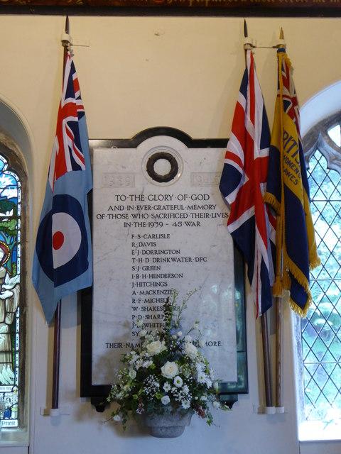 1939-1945 War Memorial in St Just in Roseland Church