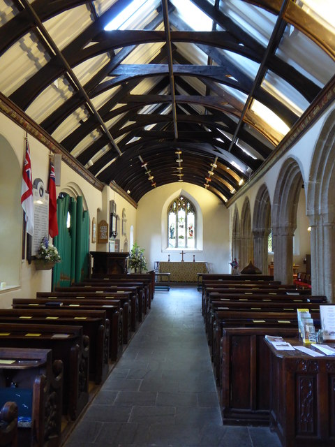 The nave of St Just in Roseland Church