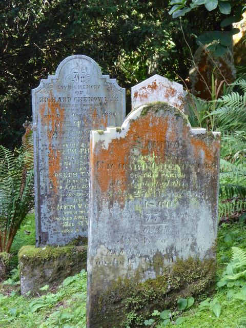 Lichen covered gravestones at St Just in Roseland