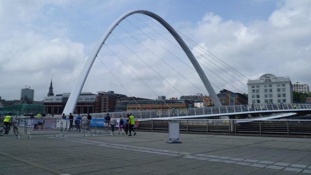 The Gateshead Millennium Bridge from outside the Baltic Centre